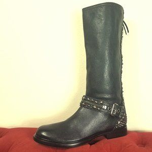NEW Miu Miu Motorcycle Boot Leather Studded Ampute